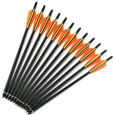 "12PK Carbon Arrows 20"" Crossbow Bolts 4inch vanes Hunting Archery arrow heads"