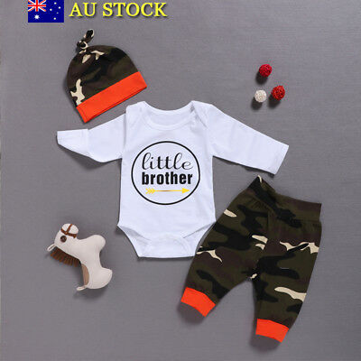 3Pcs Baby Boys Brother T Shirt Tops+Camo Pants+Hat Toddler Winter Outfit Clothes