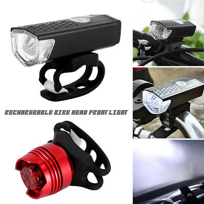 Mountain Bike Bicycle LED Head Front Light&Rear Tail Lamp Sets USB Rechargeable