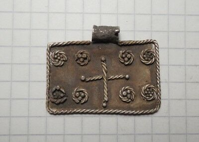 Celtic period silver amulet with cross in the centre VF+++