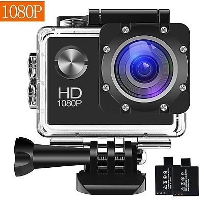 Action Camera, 12MP 1080P 2 Inch LCD Screen, Waterproof Sports Cam 120 Degree Wi