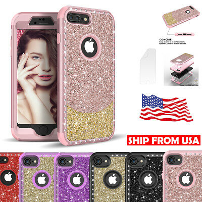 Hybrid Heavy Duty Shockproof Diamond Bling Case Impact Protection for iPhone