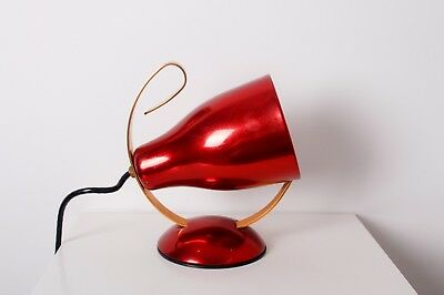 VINTAGE AEI AUST. ELECTRICAL INDUSTRIES RED ANODISED ALUMINIUM LAMP 1950's RETRO