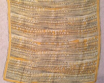"""Vintage VERA NEUMANN 1950s Yellow Gold Black Stained Glass Silk Scarf 30"""" Square"""