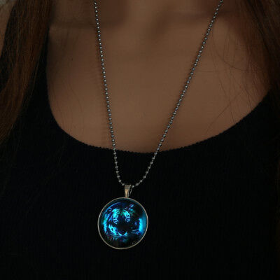 Hot Men Fairy Cool Tiger Glow in the Dark Stainless Steel Pendant Necklace