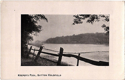 Keeper's Pool, Sutton Coldfield, old b+w postcard, unposted