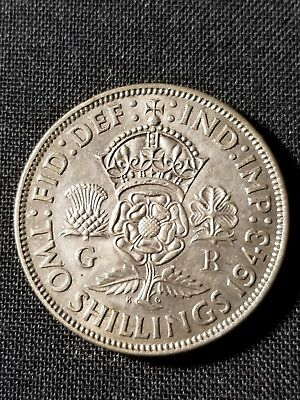 1943 United Kingdom Great Britain GEORGE VI Silver Florin 2 Shillings Coin