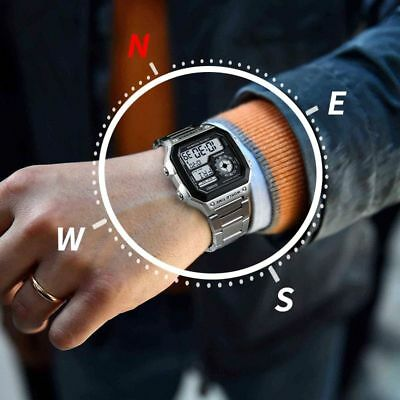 Outdoor Sports Watch Compass Countdown Pedometer LED Digital Wrist Watch For Men