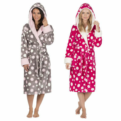 e0b5781eeb Forever Dreaming Ladies Print Dressing Gown Fluffy Flannel Fleece Hood Robe  NEW
