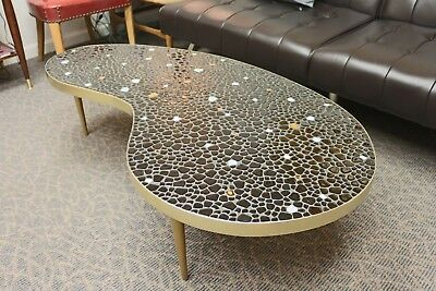 Vintage Mcm Mosaic Tile Top Kidney Shaped Coffee Table With Metal Peg Legs 588 00 Picclick