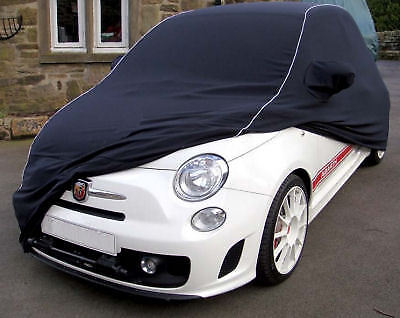 Fiat 500 Abarth, Indoor Tailored, CUSTOM Car Cover - Black with Silver Piping