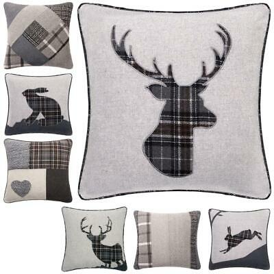 "Tartan & Patchwork 18"" Charcoal & Grey Cushion Cover Stag, Hare & Heart"