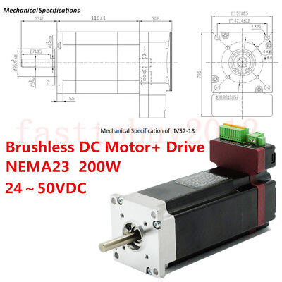 200W Integrated Brushless DC NEMA23 Servo Motor Drive BLDC 24~50VDC  Low Voltage