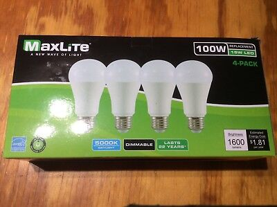4 Bulbs LED 15W Daylight 5000K A19 100W Replacement by Maxlite