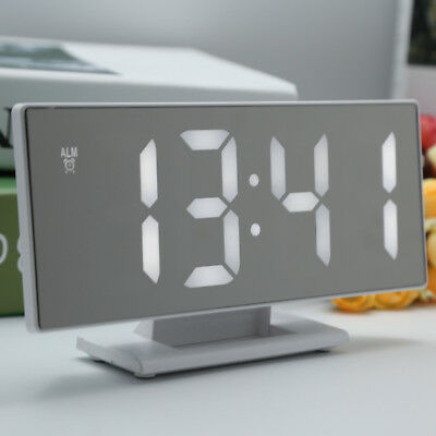 Portable Digital Mirror Alarm Clock Large LED Display 2 Power Ways For Bedroom