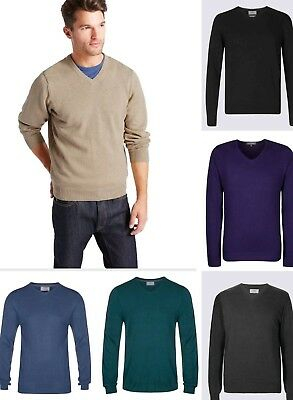 V Neck Jumper. New Ex M&S Cotton Mix Sweater Pullover Size S-XXL RRP £19.50