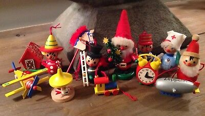 Lot 13 Vintage German Wooden Christmas Ornaments Steinbach, Ulbricht Etc