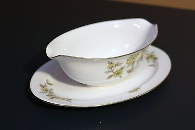 Style House Fine China - INDORE - Japan Gravy Boat w/ Attached Spill Under Plate