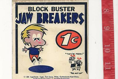 Vintage display  Block Buster Jawbreaker 1c gum machine card FREE SHIPPING