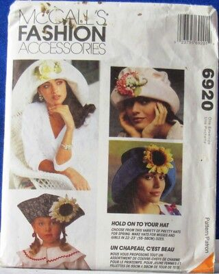 1994 Vintage McCALL'S Fashion Accessories CRAFTS  #6920 Girl & LADIES HATS unCut