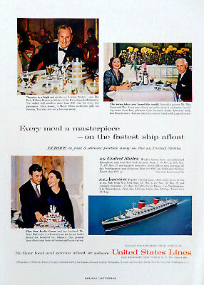 Vintage 1958 United States Lines S.S America Ship advertisement art print ad