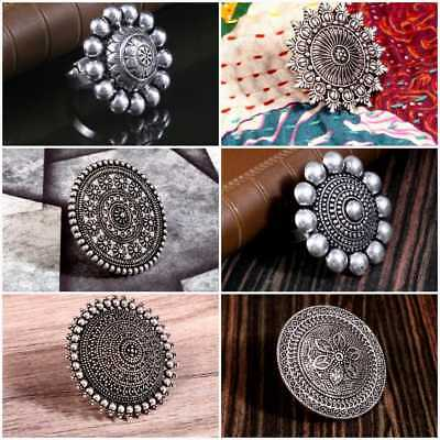 Oxidized Silver Plated Bollywood Fashion Adjustable Party Wear Statement Ring