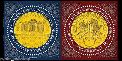"""Austria - """"25 YEARS OF THE VIENNA PHILHARMONIC GOLD COIN"""" MNH MS 2014 !"""