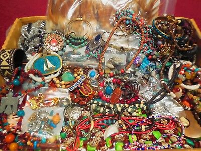 Huge Large 100 Pc Vtg Southwest Necklace Bracelet Earring Lb Costume Jewelry Lot