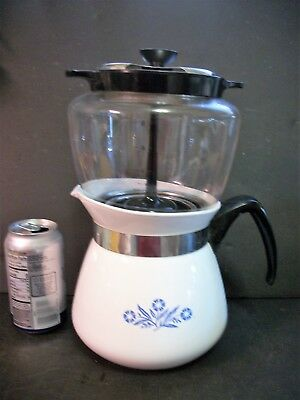 Vtg Corning Ware Blue Cornflower Coffee Pot Stove Top 8 Cup Drip O Lator