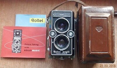 CASED ROLLEI MAGIC 6X6 TLR CAMERA 75mm f3.5 XENAR TAKING LENS + INSTRUCTIONS