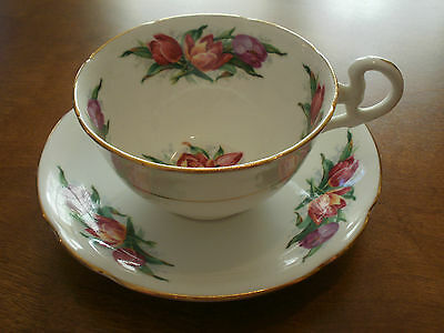 Royal Grafton Tulips Spring Easter English Bone China Tea Cup Saucer Excellent