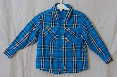 Boys George Blue Black White Check Cotton Long Sleeve Casual Shirt Age 4-5 Years