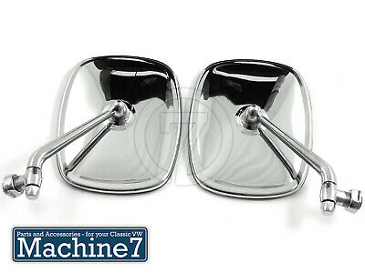 Classic VW T2 Camper Van Door Wing Mirrors Chrome Bay Side Mirror 1968-79 Pair E