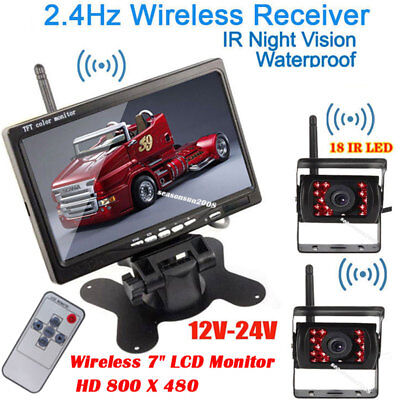 """2x Wireless IR Rear View Parking Backup Camera +7"""" LCD Monitor for Bus Truck RV"""
