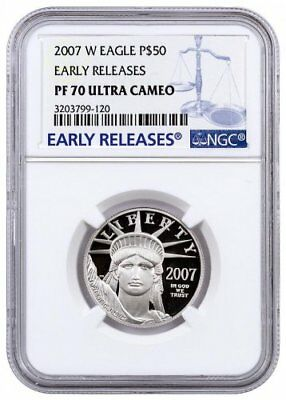 2007-W (Proof) $50 PLATINUM AMERICAN EAGLE ,PF70 ULTRA CAMEO (EARLY RELEASES)