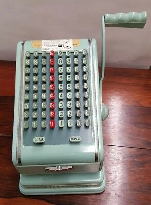 Excellent Condtiion Paymaster Check Writer Vintage Jadite Jade Mint Green