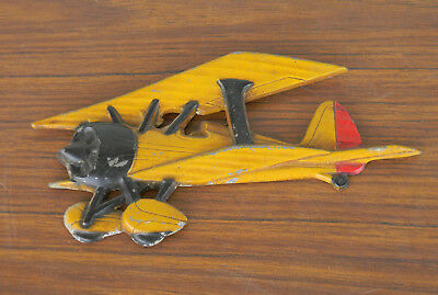 Vintage Bi plane Cast Metal wall hanging MADE IN USA! 8 inches long hand-painted