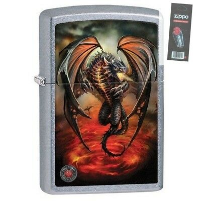 Zippo Lighter 29349 - Anne Stokes Flying Dragon Street Chrome Finish + 1 Flint