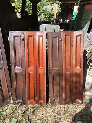 Vtg Architectural salvage  accordian style Folding Pair of Wood Window Shutter