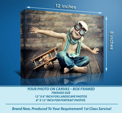 PERSONALISED 12x8 CANVAS PRINT PRINTS YOUR PHOTO ON  18MM DEEP FRAME