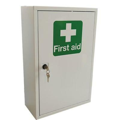Click Medical Single Door Metal First Aid Cabinet 460x300x140mm White Ref CM1120
