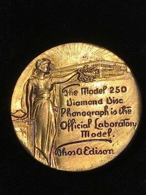 Edison 250 Diamond Disc Brass Name Brand Tag  ~ Phonograph Accessories