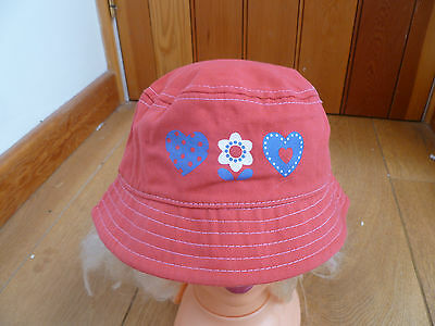 Baby Coral Pink Heart Flower Print Summer Sun Hat 1 To 2 Y 12 To 14 Mo Cotton X