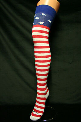 Usa Stars & Stripes Red White & Blue Cotton Stretchy Over The Knee Sexy Socks