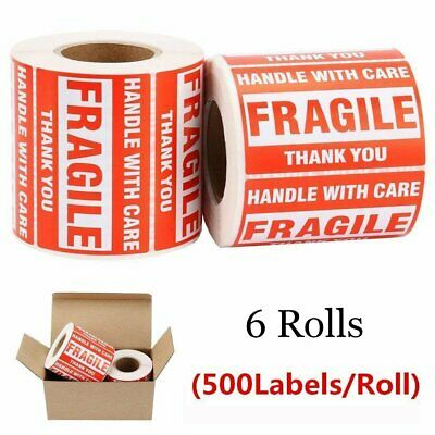 6 Rolls 2x3 Fragile Stickers HANDLE WITH CARE THANK YOU Shipping Warning Labels