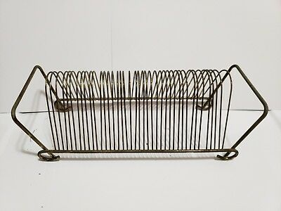 Vintage RECORD HOLDER Gold Tone Wire Rack 45 RPM Holds 40 records