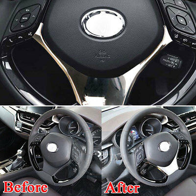 For Toyota CHR C-HR 16-2018 Car Steering Wheel Cover Trim Frame Chrome ABS