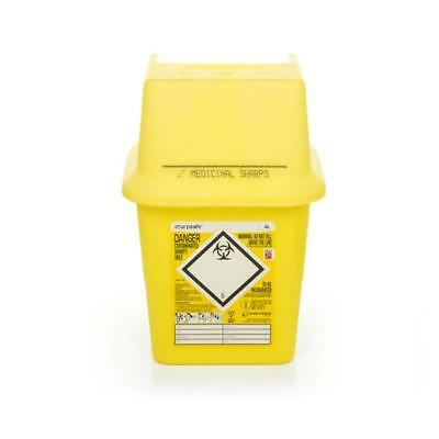 Click Medical Sharps Bin Temporary & Final Closure Feature 4L Yellow Ref CM0645