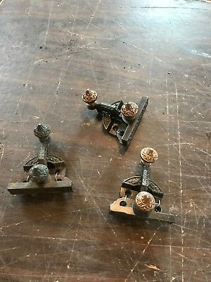Set ofThree matching antique cast-iron and brass Victorian window sash locks