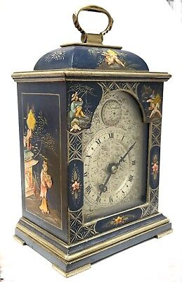 Chinoiserie Bracket Mantel Clock Hand Painted Blue And Silver With Engraved Dial
